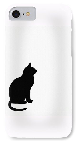 Black Cat Silhouette On A White Background IPhone Case by Barbara Griffin