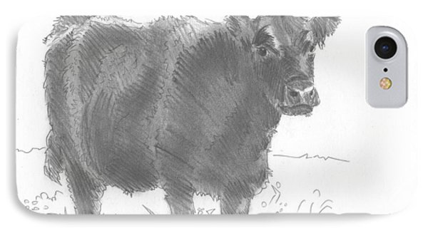 Black Cow Pencil Sketch IPhone Case