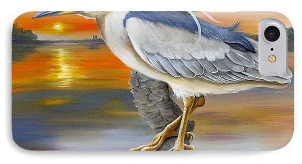 IPhone Case featuring the painting Black Crowned Night Heron At The Jordan by Phyllis Beiser