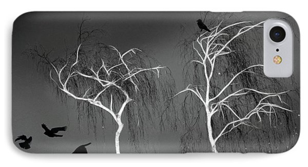 Black Crows - White Trees  IPhone Case by Richard Piper