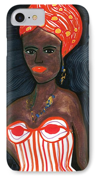 IPhone Case featuring the drawing Black Diva by Don Koester