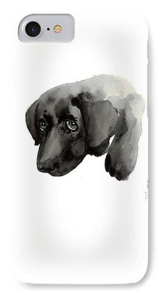 Black Dog Labrador Gold Golden Retriever Eye Portrait Animal Animals Pet Pets Watercolor Painting IPhone Case by Johana Szmerdt