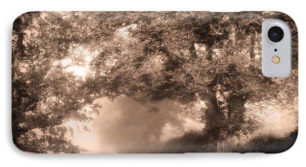 Black Dog On A Misty Road. Misty Roads Of Scotland Phone Case by Jenny Rainbow