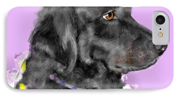 Black Dog Pretty In Lavender Phone Case by Lois Ivancin Tavaf