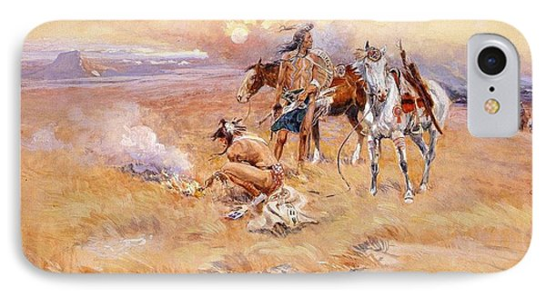 Black Feet Burning The Buffalo Range Phone Case by Charles Russell