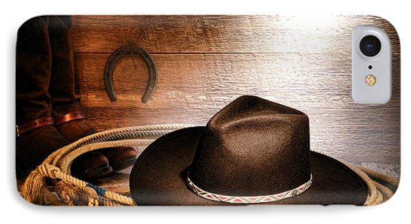 Black Felt Cowboy Hat IPhone Case by Olivier Le Queinec