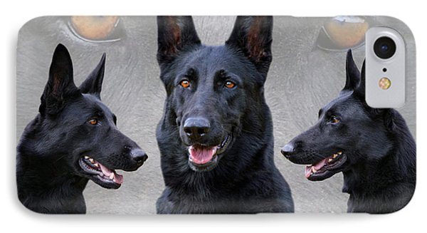 Black German Shepherd Dog Collage IPhone Case
