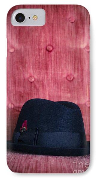 Black Hat On Red Velvet Chair Phone Case by Edward Fielding