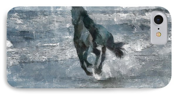 IPhone Case featuring the painting Black Horse Running On The Beach by Georgi Dimitrov