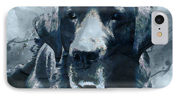Black Lab Art - To The Moon And Back - By Sharon Cummings IPhone Case by Sharon Cummings