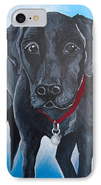 IPhone Case featuring the painting Black Lab by Leslie Manley