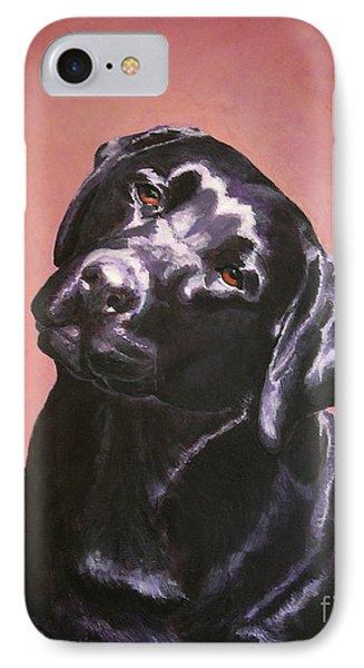 Black Labrador Portrait Painting IPhone Case