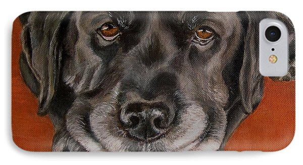 Black Labrador Rests Head Rescue Dog Phone Case by Amy Reges