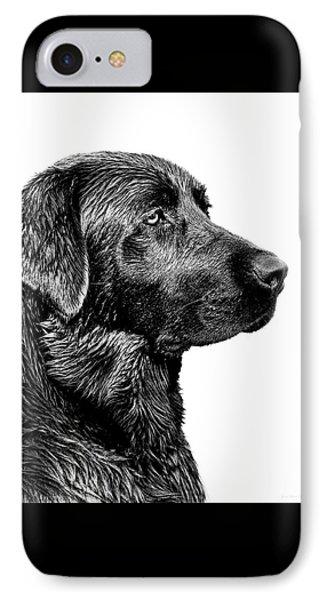 Prairie Dog iPhone 7 Case - Black Labrador Retriever Dog Monochrome by Jennie Marie Schell