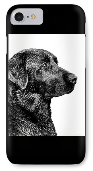 Black Labrador Retriever Dog Monochrome IPhone Case by Jennie Marie Schell