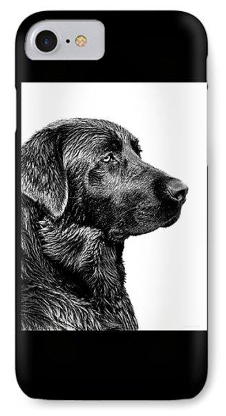 Black Labrador Retriever Dog Monochrome IPhone Case