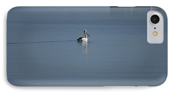 IPhone Case featuring the painting Black Line Pelican  Calm Water by Phoenix De Vries