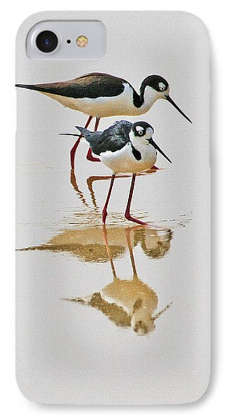 Black Neck Stilts Togeather IPhone Case by Tom Janca