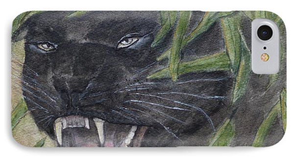 IPhone Case featuring the painting Black Panther Fury by Kelly Mills