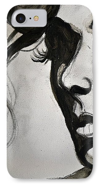 IPhone Case featuring the painting Black Portrait 16 by Sandro Ramani