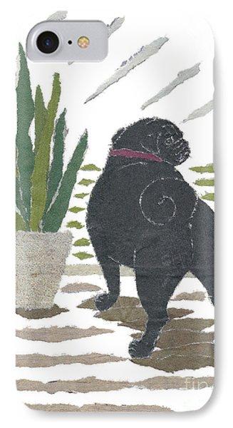 Black Pug Art Hand-torn Newspaper Collage Art Phone Case by Keiko Suzuki Bless Hue