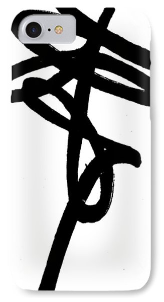 Black Ray -minimal Black And White Abstract By Laura Gomez - Vertical Format IPhone Case