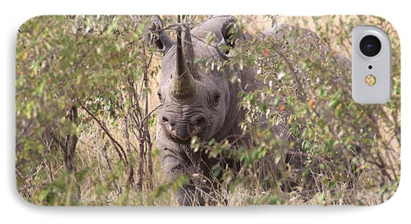 Black Rhino  IPhone Case by Chris Scroggins