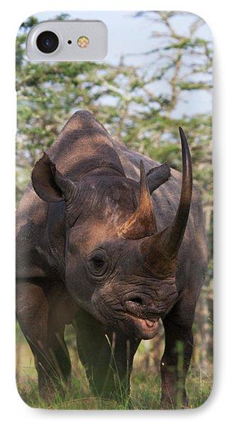 Black Rhino (diceros Bicornis IPhone Case by Keren Su