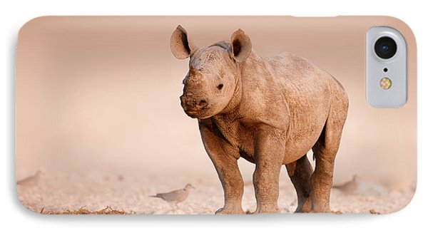 Black Rhinoceros Baby IPhone Case by Johan Swanepoel