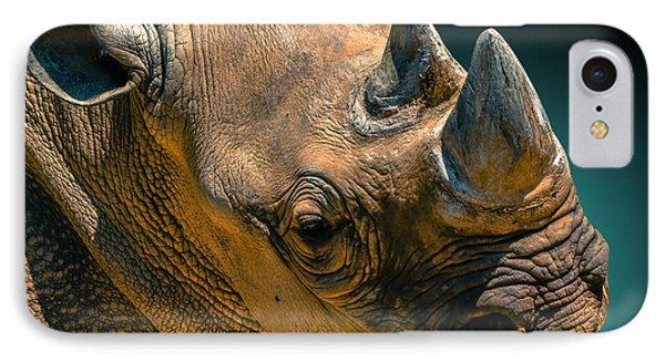 Black Rhinoceros IPhone Case by Brian Stevens
