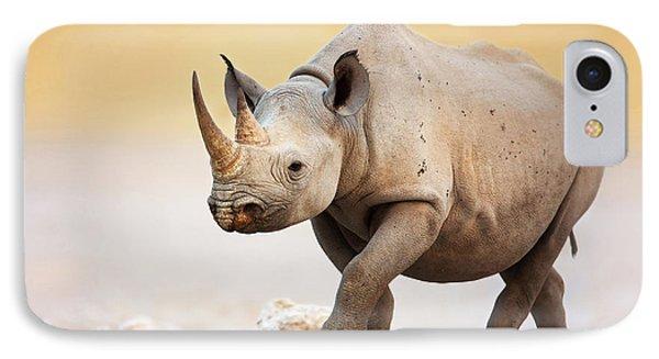 Black Rhinoceros IPhone Case by Johan Swanepoel