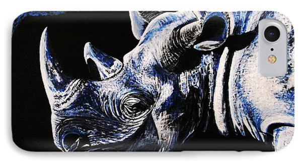IPhone Case featuring the painting Black Rino by Viktor Lazarev