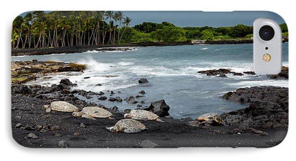 Black Sand Beach Turtles IPhone Case