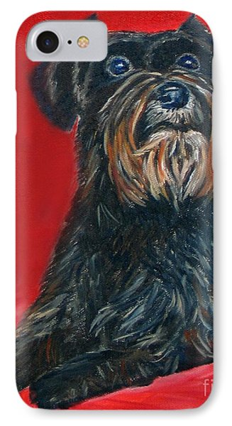 Black Schnauzer Pet Portrait Prints IPhone Case by Shelia Kempf