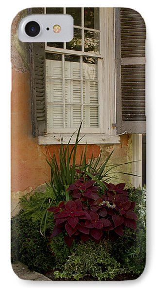 Black Shutters With Flower Bed IPhone Case