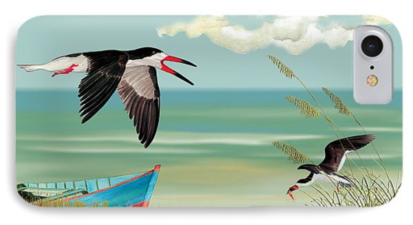 Black Skimmers Fishing IPhone Case by Anne Beverley-Stamps
