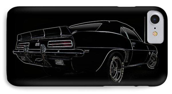Black Ss Line Art IPhone Case by Douglas Pittman