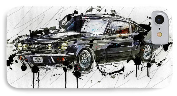 Black Stallion 1965 Ford Mustang Fastback #3 IPhone Case by Gary Bodnar