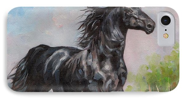 Black Stallion IPhone Case by David Stribbling