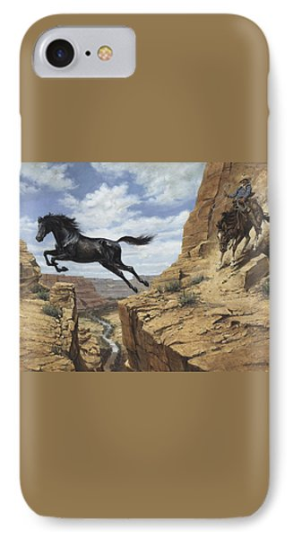 Black Stallion Jumping Canyon IPhone Case by Don  Langeneckert