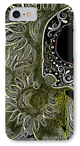 Black Sunflower Skull Phone Case by Lovejoy Creations
