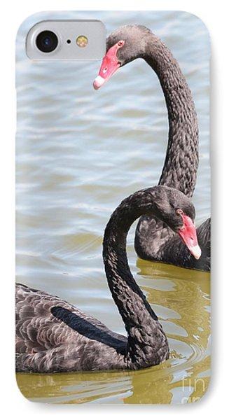 Black Swan Pair Phone Case by Carol Groenen