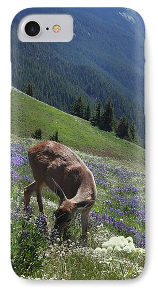 Black-tailed Deer And Lupines IPhone Case by Mark Alder