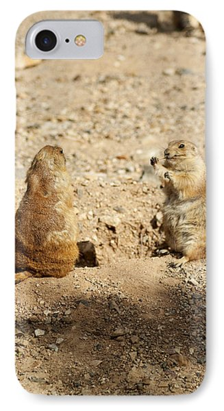 IPhone Case featuring the glass art Black Tailed Prairie Dogs by Daniel Hebard