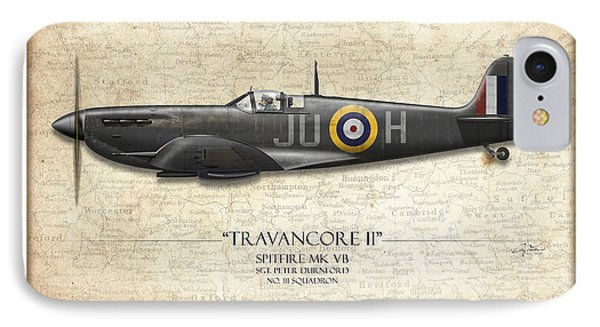 Black Travancore II Spitfire - Map Background IPhone Case by Craig Tinder