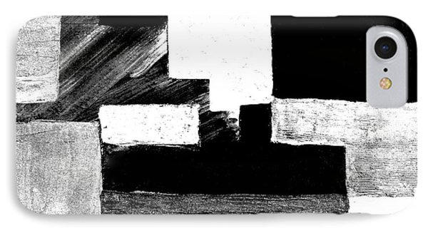 Black White Gray Abstract Phone Case by Marsha Heiken