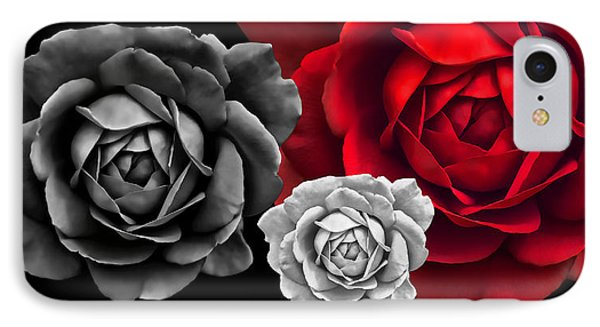 Black White Red Roses Abstract IPhone Case by Jennie Marie Schell