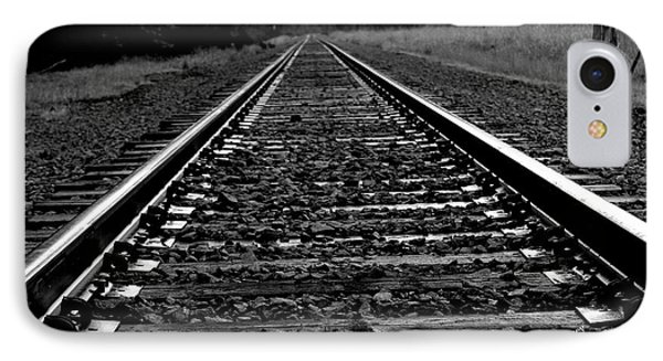 IPhone Case featuring the photograph Black White Tracks by Karen Kersey