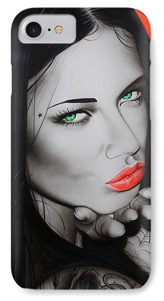 Adriana Lima - ' Black Widow ' IPhone Case by Christian Chapman Art