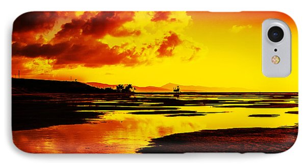 Black Yellow And Orange Sunrise Abstract IPhone Case by Julis Simo